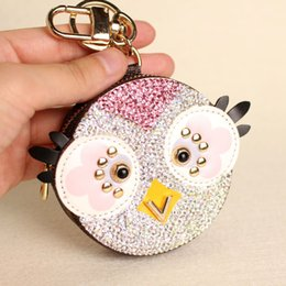 cute owl wallets Coupons - ashion Jewelry Key Chains Cute Owl Chicken Crystal Cartoon Anime Coin Purse Keychain Pendant PU Leather Wallet Key Chain For Women Bag Ch...