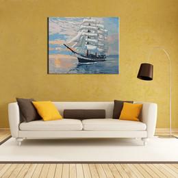 """2019 malerei bestellen Neue DIY Ungerahmt Digitales Ölgemälde durch Zahlen Handgemalte Farbe Nach Nummer 16 * 20 """"Segelschiff Muster Auf Baumwolltuch Druck Home Decorat"""