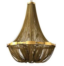 luz de teto pendente cool Desconto LEVOU Bronze Ouro Corrente de Alumínio Tassel de Aço Inoxidável Luzes de Teto Luminária Luminária Luzes Pingente Com Cool White Lâmpadas LED Lâmpadas