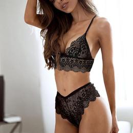 2pcs Sexy Lingerie Sets Women Black Lace Bra   G-string Sleepwear Deep V- Neck Back Dress Nightwear Female Underwear bra+set 3bf6eb2ee