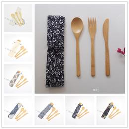 sacos de faca para Desconto Talheres Portátil Eco-Friendly Bamboo Faqueiro faca Fork Colher 3PCS / set com saco de pano Student Louça Kit de viagem Dinnerware Set
