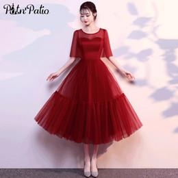 2019 элегантное вино Красное вино - Длинное платье больших размеров Вечерние платья Элегантное платье с коротким рукавом и рукавами Тюль Формальные платья для свадьбы скидка элегантное вино