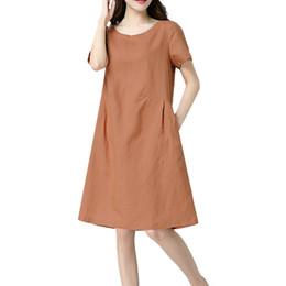 1a613761ce dress for women Women Cotton Linen O-neck Short-sleeved Solid Loose Casual  Midi Dress sukienka damska plus size M4Y5 discount linen midi dresses