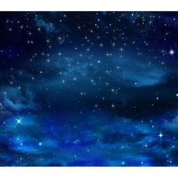 8x8ft foto sullo sfondo Sconti Blue Sky Glitter Star Night Personalizzato Fotografia Sfondo per Studio fotografico Puntelli Fondali fotografici panno F-2703