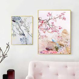 Impression de photos chine en Ligne-Décor à la maison HD Prints Chine Style Oiseau Fleur De Prunier Peinture Mur Art Toile Photos Aquarelle Affiche Modulaire Pour Le Salon