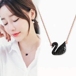korean pendants Promo Codes - 925 sterling silver Swarovski crystal swan pendant necklace Korean version of the hot fashion simple jewelry gift