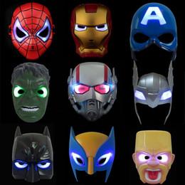 máscara de brilho de festa Desconto Luz LED Crianças Máscara Super Heros Spiderman Vingadores Capitão América Homem De Ferro Batman Hulk Glow Máscaras Festa de Halloween Piscando Brilho Brinquedos
