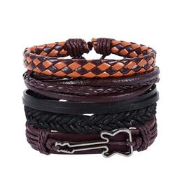 Гитарные браслеты онлайн-4pcs/set vintage cowhide leather woven  wax string alloy guitar bracelets set for women men wristhand adjustable bangles