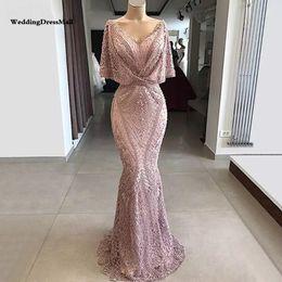ddcb093f4bd Long Mermaid Pink Lace Abendkleider Arabic Evening Dress 2019 Kaftan Dubai  Muslim Party Dresses vestido de gala