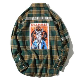Camisas longas da bainha on-line-Hip Hop estendido Arc Hem camisas dos homens xadrez impresso camisas de manga comprida de algodão puro camisas para macho