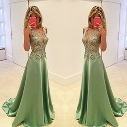 plunge maxi dress sexy Promo Codes - Sexy Long Prom Dresses Lace Appliques Plunging Neckline A Line Satin Evening Gowns Cheap 2019 Formal Party Maxi Dress