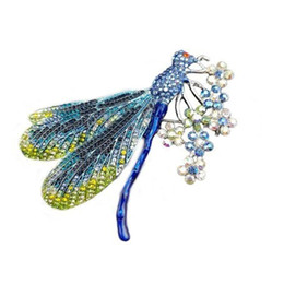 Broches roxos on-line-50 Pçs / lote 4.3 Polegada Inseto Libélula Flor Broches Para As Mulheres Roxo Animal Cristal Rhinestone Pin Broche