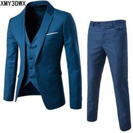 más el tamaño de las chaquetas formales Rebajas (chaqueta + pantalón + chaleco) Hombres de lujo traje de boda Blazers masculinos Slim Fit trajes Traje de hombre de negocios formal clásico partido más el tamaño 6xl Y190418