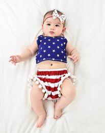 Argentina 4 de julio día de la independencia niñas pequeñas mamelucos borla bebé cuarto de julio bandera americana verano ee.uu. Suministro