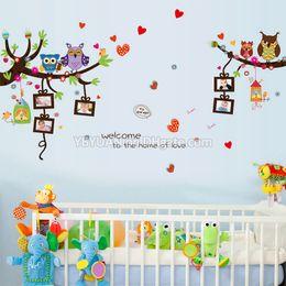 Adesivi da muro di compleanno online-Cartoon Animals Children Wall Stickers Simpatici Gufi Birds Tree Lovely Heart with 5 Photo Frame Decals Per Baby Birthday Kids Room Decoration