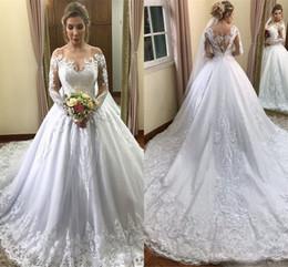 Vestidos de casamento brancos modestos on-line-Modest Branco Manga Longa Vestidos de Casamento 2019 Mais Novo Fora Do Ombro Lace Appliqued Vestidos De Noiva Com o Tribunal de Trem Plus Size Vestido de Maternidade