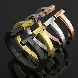 vaso grossisti Sconti Nuovi gioielli in acciaio 316L titanio 18 carati oro rosa doppia T Bangle bracciali polsini aperti gioielli in argento amore braccialetto per le donne regali