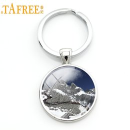 chinese dragons art Coupons - TAFREE Chinese Dragon Snow Mountain Keychain Key Chain Rings Landscape Mountain Art Picture Glass Cabochon Key Pendant YL05