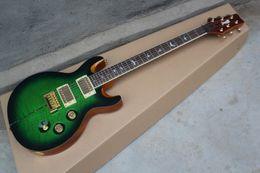 private aktiengitarren Rabatt PRS Santana Private Stock Custom 24 Grün Figured Maple Top E-Gitarre Abalone-Streifen-Gold-Hardware