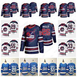 2019 eishockey trikots winnipeg Winnipeg Jets 2019 Heritage Classic Trikot 26 Blake Wheeler 55 Mark Scheifele 29 Patrik Laine 33 Dustin Blank Hockey Trikot AUF LAGER günstig eishockey trikots winnipeg