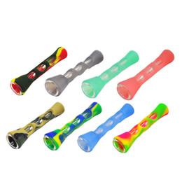 Manos de cuerno online-Moda Cuerno Forma FDA Vidrio de silicona pipa de hierba fumar 20 MM Tubos de un solo batidor Cigarrillo de tabaco de mano Tubo Cuchara de mano Accesorios de pipa