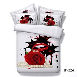 2019 ropa de cama queen sexy 3D Pearl sexy labios rojos Patrón de rosa Conjunto de ropa de cama Edredón Funda de edredón + funda de almohada doble reina completa cama de matrimonio Textiles de lujo ropa de cama queen sexy baratos
