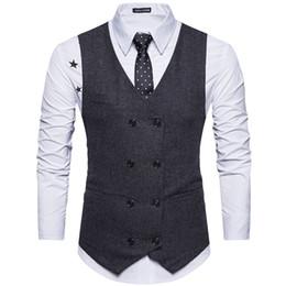 2019 terno com gorro duplo 2019 Custom Made Tweed Homens Terno Colete Cáqui Vestido Formal Terno Colete De Lã Moda Slim Fit Colete Nova Chegada desconto terno com gorro duplo