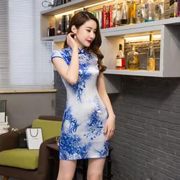 vestido cuello de shangai Rebajas Historia de Shanghai, vestido tradicional barato Qipao vintage para mujer Cheongsam Vestido de estilo chino Vestido de estilo oriental chi pao