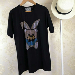 tee length Coupons - 19SS European Short Sleeve Early Spring New Pattern Hot Rabbit Ears Bear Middle Length Fashion Pure Cotton Round Neck Tees HFWPTX229