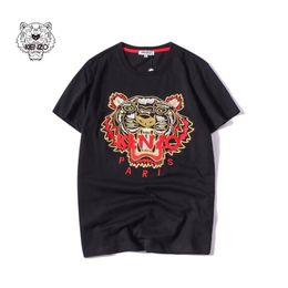 Moda Verão Designer de T Camisas Das Mulheres Dos Homens Bordados Tops Tigre Cabeça Carta Bordado T Camisa Marca de Manga Curta T-S-2XL de