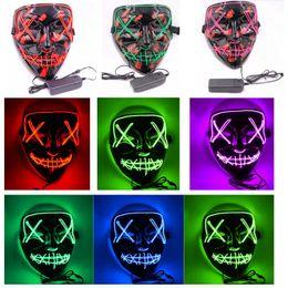 2019 карнавальные перья оптом Хэллоуин маски LED Light Up Смешные маски Эль проволочные Призрак кровеносными Год выборов Большой фестивальный Косплей партии маска XD21428