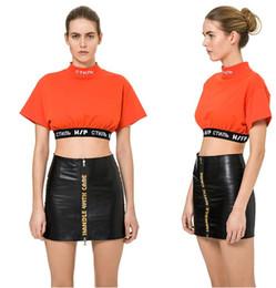 Wholesale HERON PRESTON Camiseta de verano para mujer Camisas de manga corta O cuello naranja Top negro Talla S L