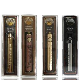 visualizza la variabile Sconti Tirapugni in ottone Sigaretta Vape 650mAh 900mAh oro legno SUS O Pen Preriscaldamento batteria voltaggio variabile con caricatore USB