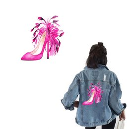 Salto alto em penas on-line-Fashion Sticker Creative Feathered High Heels Washable DIY Decoration T-shirt Dress Appliques Beautifful Patches For Clothing