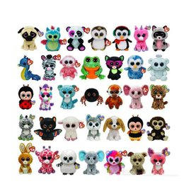 Ty plüschtiere online-35 Design Ty Beanie Boos Plüsch Stofftiere 15 cm Großhandel Große Augen Tiere Weiche Puppen für Kinder Geburtstagsgeschenke ty spielzeug OTH754
