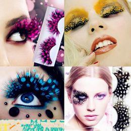 Extensions de cils de plumes en Ligne-Coloré Plume Faux Cils Paon Cils Exagérés Latin party Stage Maquillage 9 couleurs