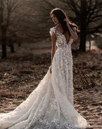 vestido de casamento da princesa grega Desconto Berta verão boho uma linha de vestido de noiva ilusão corpete backless 3d-floral apliques praia vestidos de noiva sem encosto v profundo pescoço robe de mariée