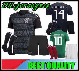 uniforme de mexico verde Rebajas 2019 Copa de oro México niños fútbol Jersey Niños Kit negro México casa verde Camisetas de fútbol CHICHARITO Camisas infantiles uniforme H. LOZANO