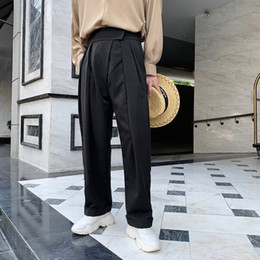 2019 men s formal suit design Calças de Estilo Ocidental de Alta-cintura dos homens 2019 Terno Ocasional Dos Homens Calças de Algodão Projeto Calças de Algodão Pantalon Slim Fit Homme Projeto Formal desconto men s formal suit design