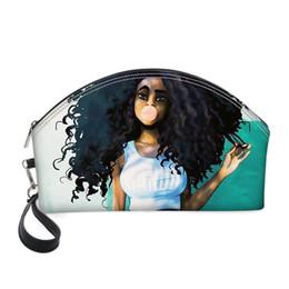 Bolsas de impresión de moda online-Vogue africana Art Girl PU Bolsa de Cosméticos 3D Print mujeres viajan hasta maquillaje Neceser de belleza caja del organizador del bolso