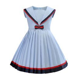 2019 nuevo vestido de la manera del collar de la marina de guerra de los niños plisado princesa vestido dulce arco diseño viento de la universidad azul claro envío gratis desde fabricantes