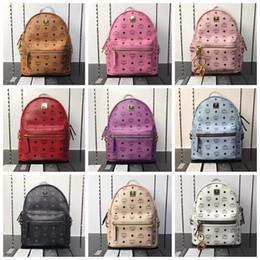 новая мода Старк visetos письмо заклепки рюкзак досуг рюкзак школьная сумка девять цветов от