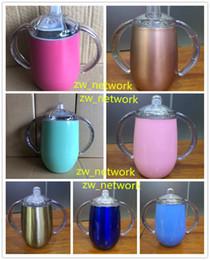 Tazas de acero inoxidable para niños. online-10 oz taza de entrenamiento de acero inoxidable con mango aislado niños Sucker Copa niños beber vasos de entrenamiento taza de la botella tazas de leche de los niños