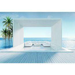 cenários de fotografia do mar Desconto Backdrops tropicais para a fotografia Palmeira Grey View House Chair piso de madeira mar cênica foto fundos para estúdio de fotografia