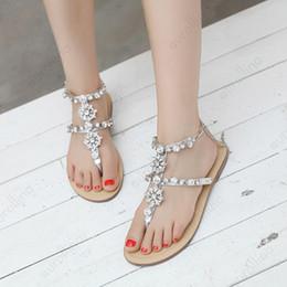 sandalias planas de plata strass Rebajas Rhinestone de plata Sexy Sandalias Mujeres Sexy Toe Gladiador Sandalias Mujeres Verano Zapatos Mujer Pureza Plana Roma Elegante plana