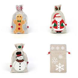 2019 papier de velours en gros 4 styles De Noël Cordon Cadeaux Sac Poche Pour Le Père Noël Flocon De Neige Bonhomme De Neige Noël De Stockage Toile De Jute Toile De Jute Fête D'anniversaire Sac De Bonbons Décor