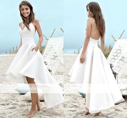 a60aa922a05 High Low Short Wedding Dresses 2019 A Line Summer Beach Boho Bridal Gowns A  Line Satin Backless Spaghetti Straps Party Gowns BC0354