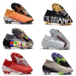 blue orange football cleats Coupons - Original Soccer Shoes Soccer Cleats CR7 Cristiano Ronaldo Men Mercurial Superfly FG TF High Top Football Boots Sneakers Soccer Cleats