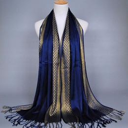 listra lurex Rebajas 2018 Moda lisa borla borlas lurex algodón a cuadros raya bufanda largo hijab musulmanes bufandas / bufanda