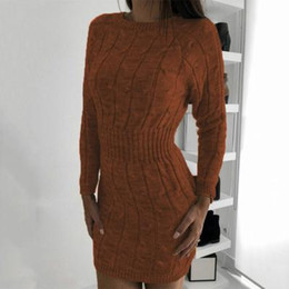 Lange pullover roben online-Frauen Casual Langarm Pullover Kleid Winter Twist Elegante Mini Bodycon Herbst Warme Strickkleid Frauen Robe Pull